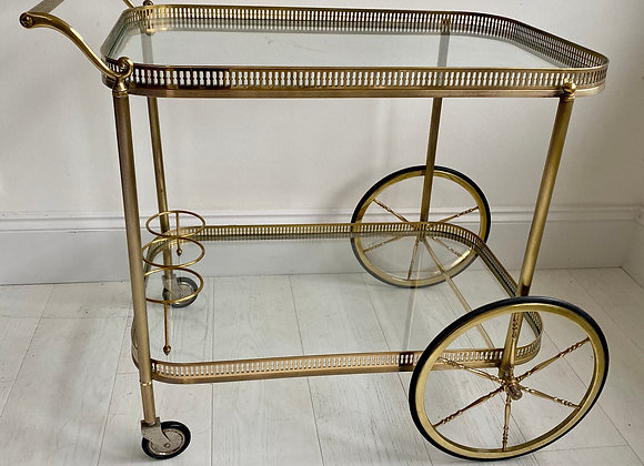 SOLD Large vintage French brass drinks trolley cart ref 2105