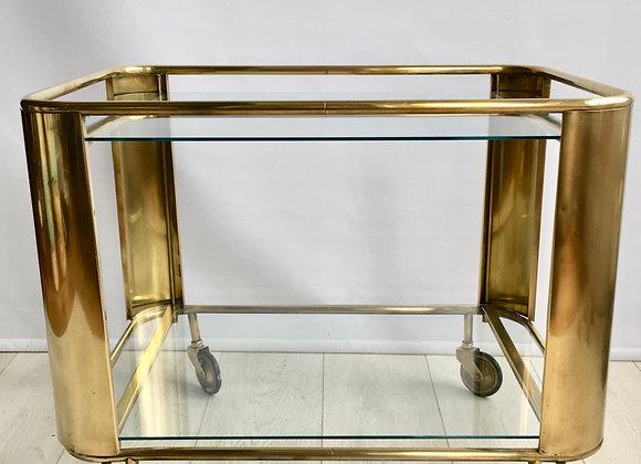 SOLD Bauhaus art deco brass drinks trolley