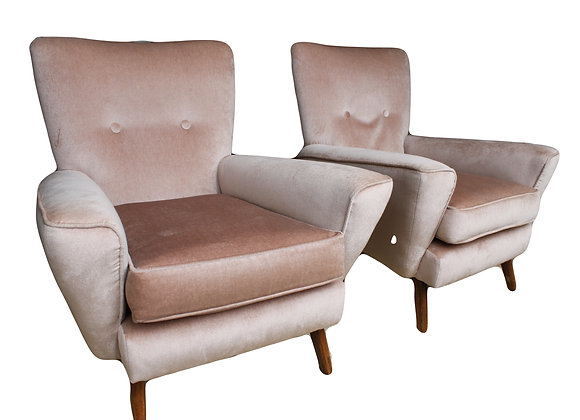 FABULOUS PAIR OF 1960S PINK ARMCHAIRS - sold