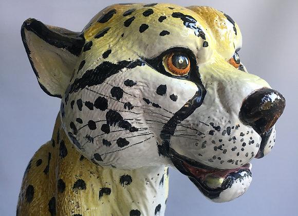 SOLD vintage  Italian terracotta cheetah statue