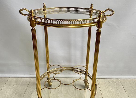 SOLD Round vintage French brass drinks trolley