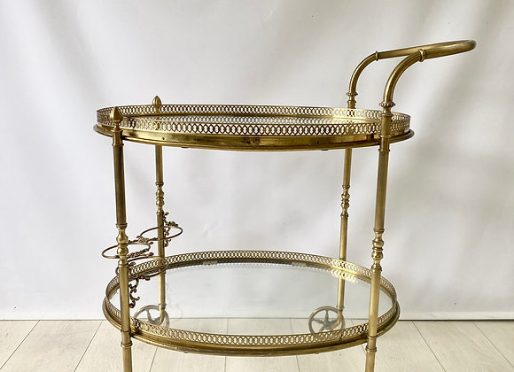 Large vintage oval brass drinks trolley bar cart ref 2460
