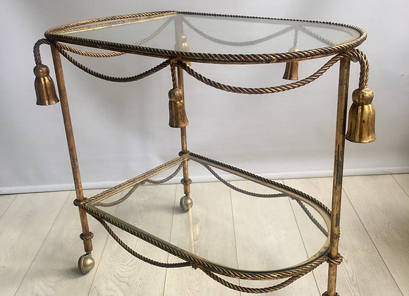 Vintage Italian gilt rope & tassle drinks trolley