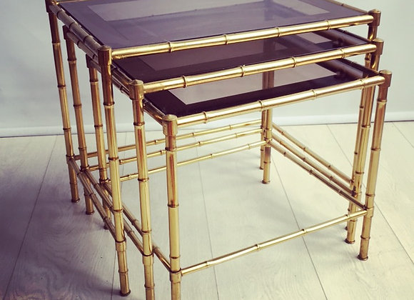 Nest of faux bamboo brass tables