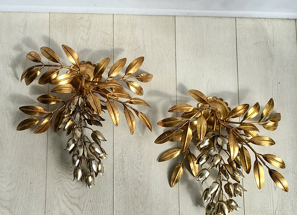 SOLD Palm Tree Wall Sconces in Gilt Metal by Hans Kögl