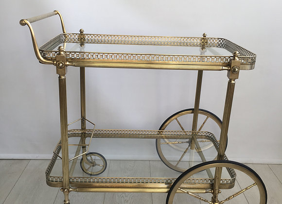 SOLD Large vintage French brass drinks trolley ref 2820