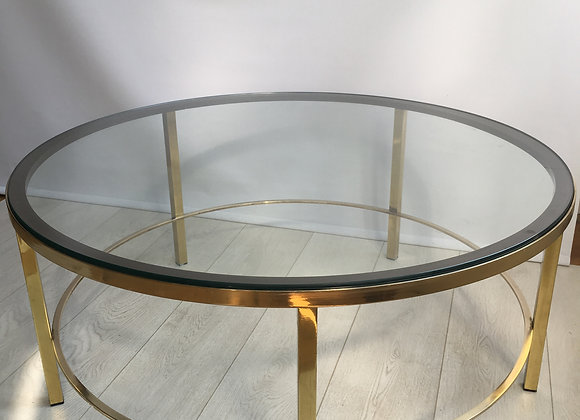SOLD Vintage brass round coffee table
