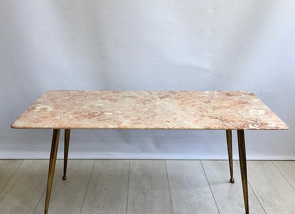 SOLD Mid century Italian pink marble coffee table