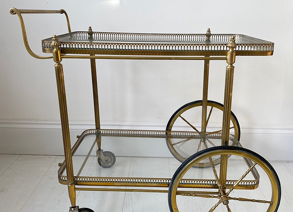 SOLD Vintage French Brass Drinks Trolley bar cart ref 2370