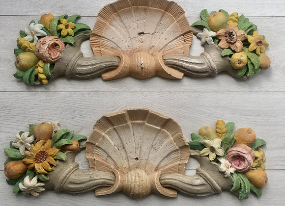 Antique French painted pediments