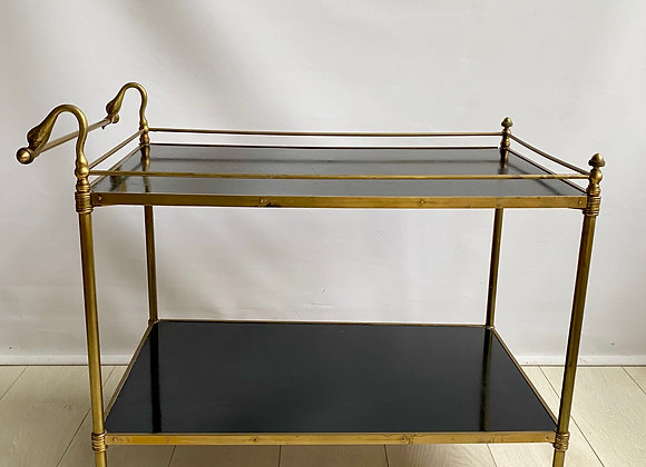 Vintage French brass swan drinks trolley ref 2365