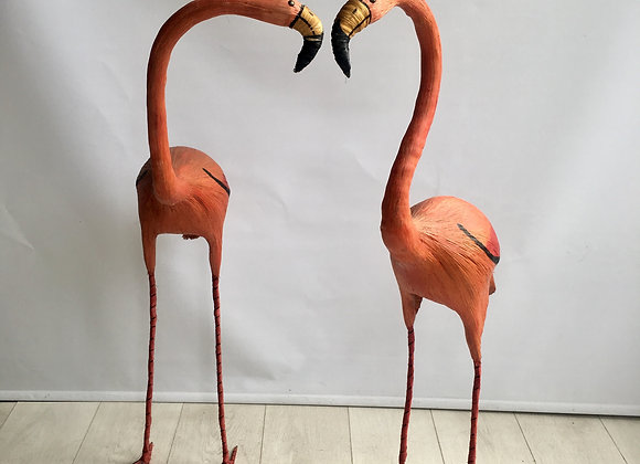 SOLD Pair of vintage raffia flamingos