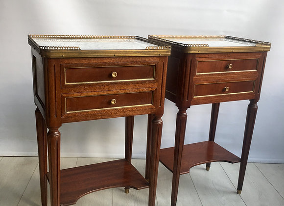 SOLD Pair of French galleried bedside tables