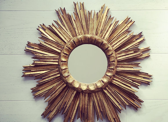 SOLD Vintage Belgium giltwood sunburst mirror