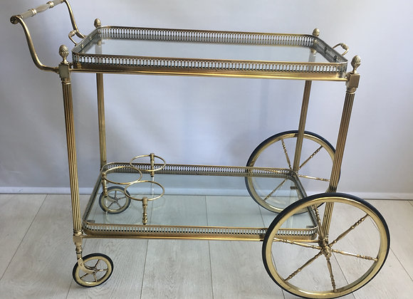 SOLD Classic vintage French brass drinks trolley 2710