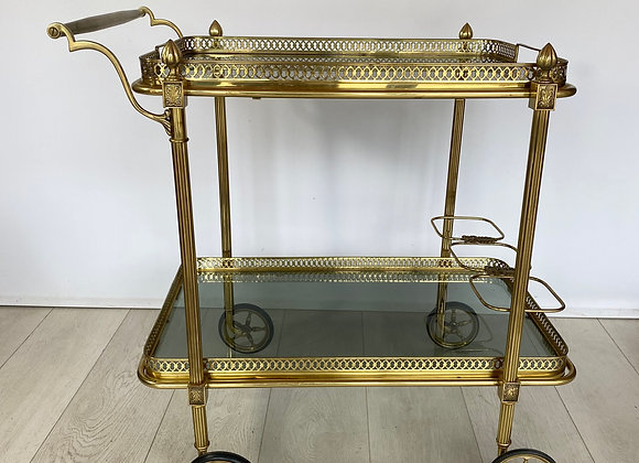 Vintage brass drinks trolley with smoked glass ref 2390
