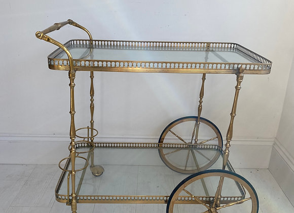 SOLD Vintage French brass drinks trolley bar cart ref 2960