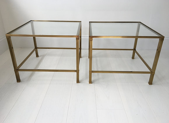 SOLD Pair of lacquered brass side tables