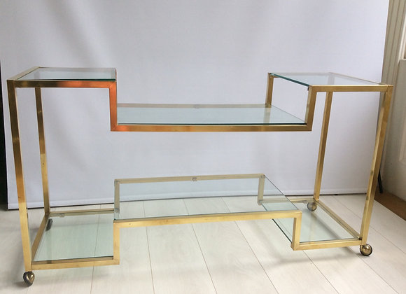 SOLD Italian brass & glass console table