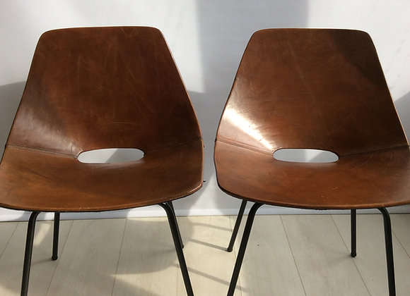SOLD Pierre Guariche 'Tonneau' chairs, leather