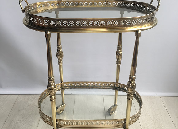 SOLD Vintage French oval brass bar cart (ref 2670)