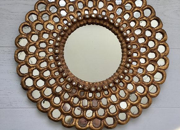 SOLD Pretty vintage honeycombe sunburst mirror