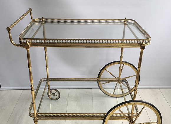 SOLD Classic vintage French brass drinks trolley