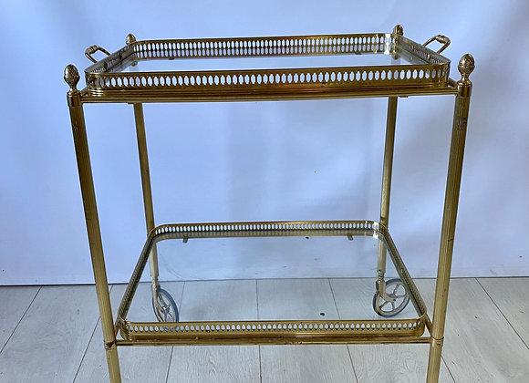 Vintage French brass drinks trolley bar cart ref 5555