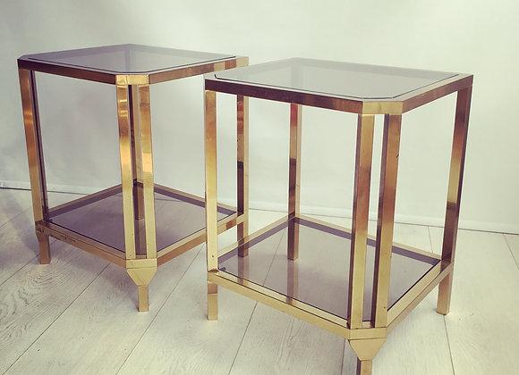 SOLD Pair of vintage brass bedside or side tables