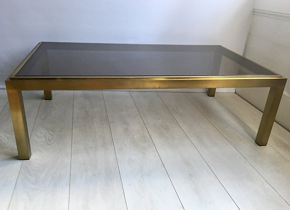 Vintage French brass and glass coffee table (2622)