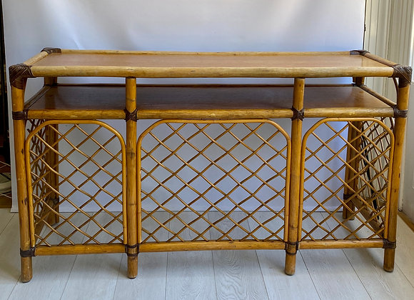 Vintage French bamboo and rattan console table