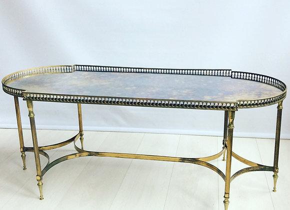 SOLD  French brass coffee table  att Jansen
