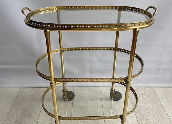 VINTAGE OVAL BRASS DRINKS TROLLEY BAR CART ref 2350