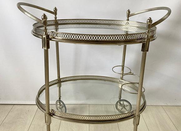 HOLD Large vintage silver drinks trolley bar cart