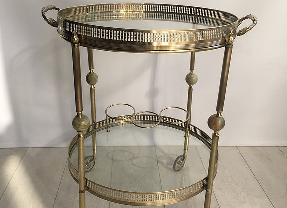 SOLD Vintage French brass round drinks trolley bar cart