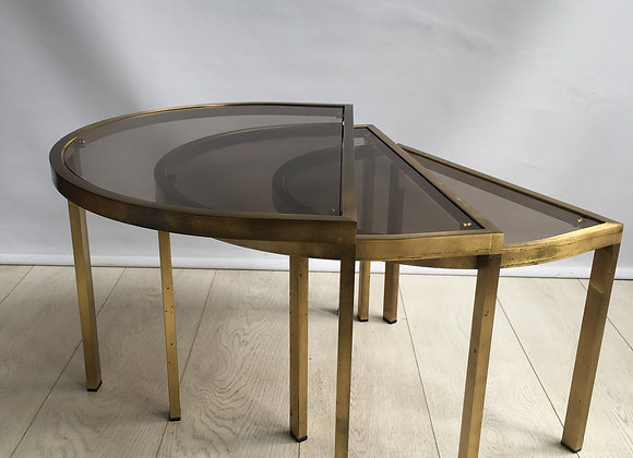 HOLD Nest of vintage brass and glass semi circle tables