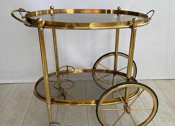 Vintage French brass drinks trolley bar cart (ref 2222)
