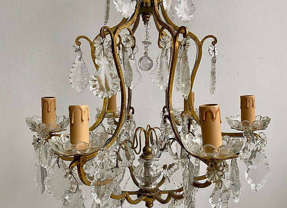 SOLD Antique French Gilded Birdcage Chandelier