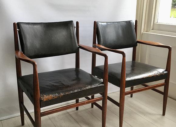 Pair of midcentury Danish chairs attr Arne Vodder