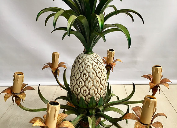 SOLD Vintage French tole pineapple chandelier