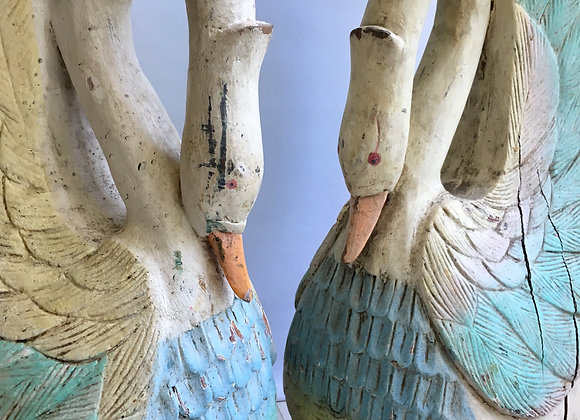 HOLD Pair of decorative antique wooden carved swans