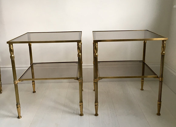 SOLD Pair vintage  French brass side tables (2765)