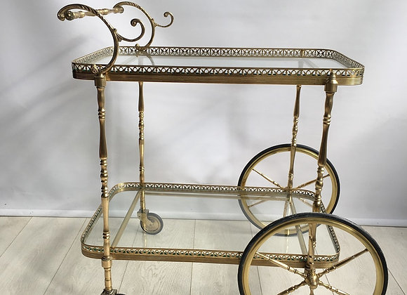 Decorative vintage French brass drinks trolley ref5555