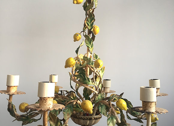 SOLD Vintage Italian tole lemon chandelier
