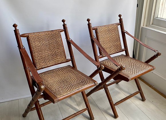 Pair of Vintage rattan and bamboo campaign chairs