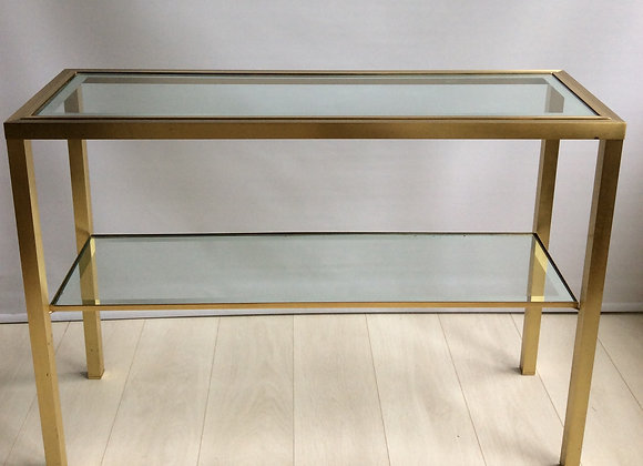 SOLD Brass and glass console