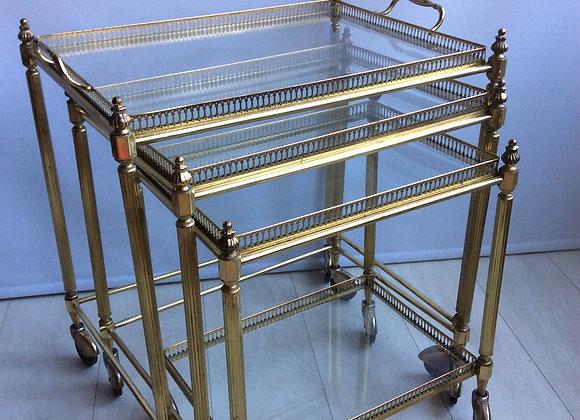 Nest of French brass drinks trolleys