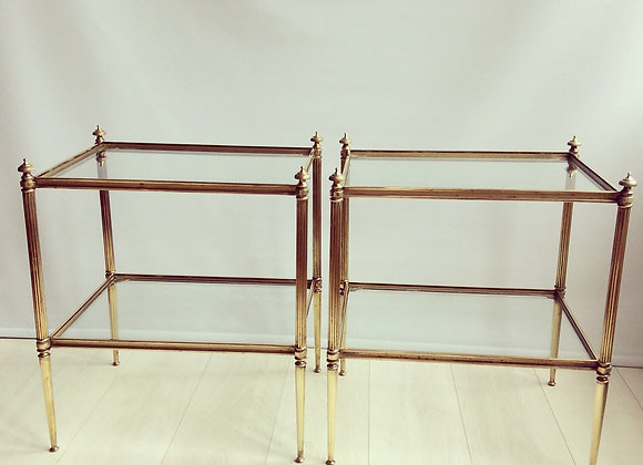 SOLD Pair of French brass side tables