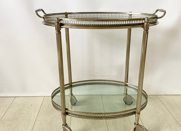 SOLD Vintage French silver drinks trolley ref 2400