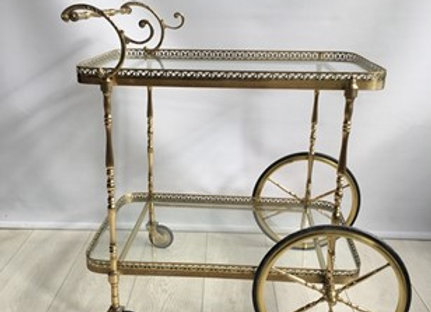 SOLD Decorative vintage French brass drinks trolley ref 2040